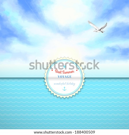 Vector envelope for invitations or congratulations. Marine theme. Sky painted oil pastel. Gulls, pencil hand drawing. Simple background with wavy pattern. Beautiful sticker for your text. - stock vector