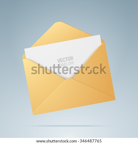 Vector envelope. Golden opened envelope isolated on a background. Realistic mockup. - stock vector