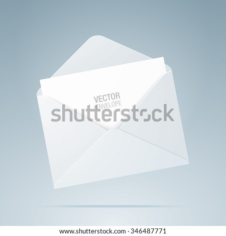 Vector envelope. White opened envelope isolated on a background. Realistic mockup. - stock vector