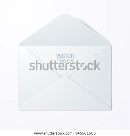 Vector envelope. White opened envelope laying on a surface. - stock vector