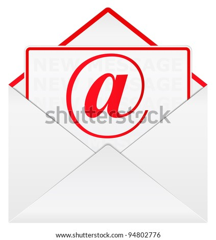 Vector envelope with email sign - stock vector