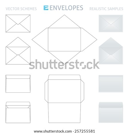 vector envelopes set, schemes and realistic samples in gray color - stock vector