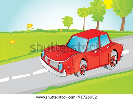 vector environment friendly car on a beautiful summer landscape. vector family going on holiday by car.