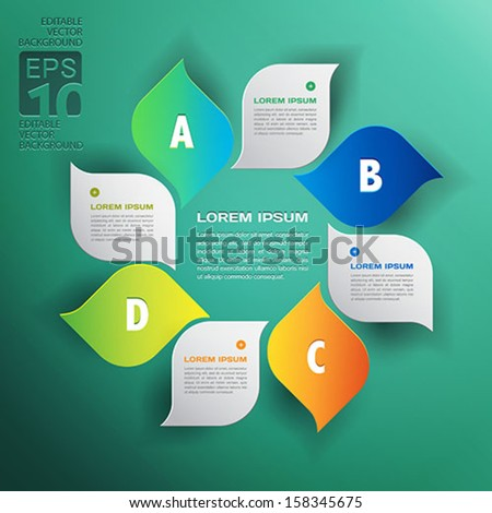 vector environmental design trend - infographics with green leaves - stock vector