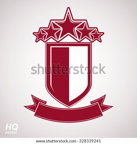 Vector eps8 aristocratic symbol. Festive graphic shield with five stars and curvy ribbon, decorative luxury security template. Success concept theme design element. - stock vector