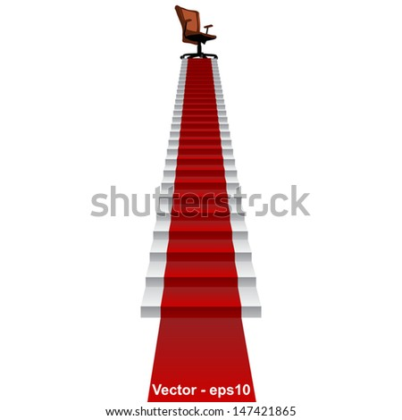 Vector eps concept conceptual 3d red carpet stair climbing to leader,chief or promotion chair on top isolated white background,for career,business,success,achievement,winner,goal,step or victory - stock vector
