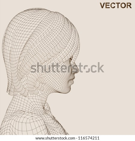 Vector eps concept or conceptual 3D wireframe human female head isolated on beige background as metaphor for technology,cyborg,digital,virtual,avatar,science,fiction,hair,future,mesh,vintage abstract - stock vector