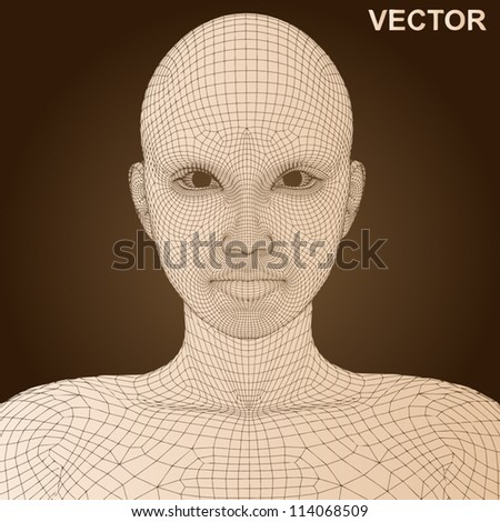 Vector eps concept or conceptual 3D wireframe human female head isolated on brown background as metaphor for technology,cyborg,digital,virtual,avatar,science,fiction, future,mesh,vintage or abstract - stock vector