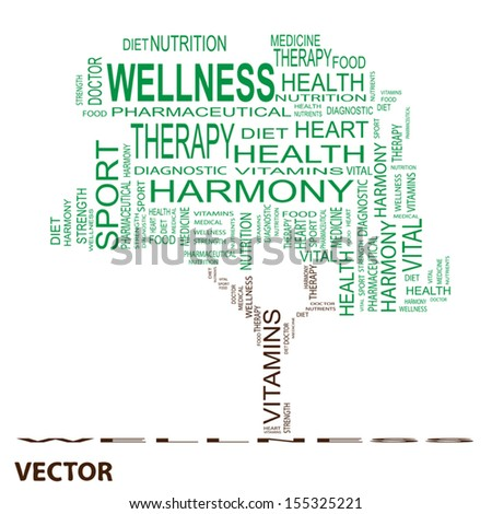 Vector eps concept or conceptual green text word cloud or tagcloud as a tree isolated on white background as metaphor for health,nutrition,diet, wellness, body, energy,medical,sport, heart or science