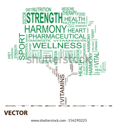 Vector eps concept or conceptual green text word cloud or tagcloud as a tree isolated on white background as metaphor for health,nutrition,diet,wellness,body, energy,medical,sport, heart or science