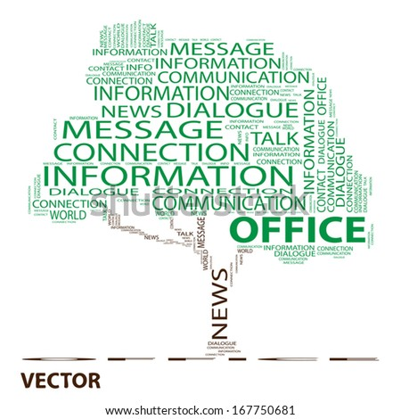 Vector eps concept or conceptual green tree word cloud on white background, metaphor to communication,speech,message,mail,relation,dialog,talk,report,contact,stair, climb,email,word,internet wordcloud - stock vector