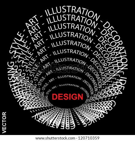 Vector eps concept or conceptual red and white round text wordcloud or tagcloud isolated on black background as metaphor for design,graphic,idea ,style,creative,artist,art,decor or abstract - stock vector