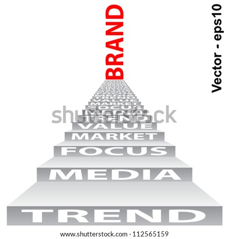 Vector eps concept or conceptual red text on stair isolated on white background as metaphor for business,brand,trend,media,focus,market,value,product,advertising or customer.Also for corporate - stock vector