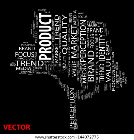 Vector eps concept or conceptual tree word cloud on black background as metaphor for business,brand,trend,media,focus,market,value,product,advertising or customer.Also for corporate wordcloud - stock vector