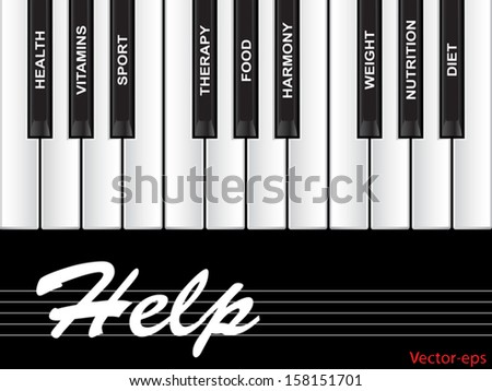 Vector eps concept or conceptual white text word cloud tagcloud as piano keys isolated on white background as metaphor for health,nutrition,diet,wellness,body,energy,medical,sport,heart science - stock vector
