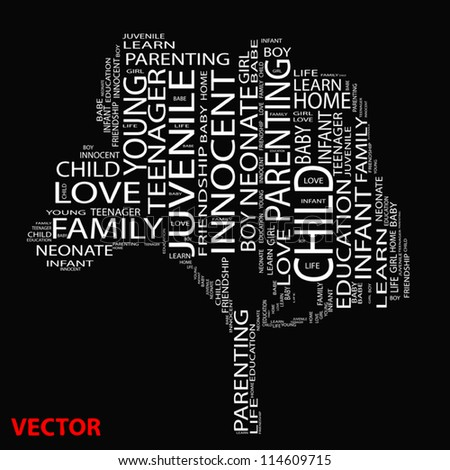Vector eps concept or conceptual white text wordcloud or tagcloud as a tree isolated on black background as a metaphor for child,family,education,life,home,love and school learn or achievement - stock vector