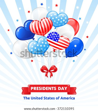 VECTOR eps 10. Design for Independence day in USA. Balloons, bow and stars, American flag in kind of balloons. You can use it also for Saint Valentines day. Enjoy quality illustrations in portfolio!