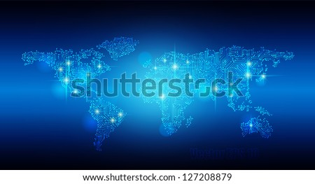Vector EPS 10- Digital world map circuit, Globalization, Hi tech and synchronization - stock vector