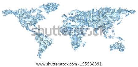 Vector eps 10 digital world map vectores en stock 155536391 vector eps 10 digital world map circuit globalization hi tech and synchronization gumiabroncs Gallery