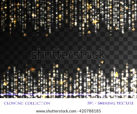 VECTOR eps 10. Glowing collection. Shining texture. Light waves, lines and light effects isolated grouped. Shining elements and stars. Gold, silver, white colors. Silver texture, background, template - stock vector