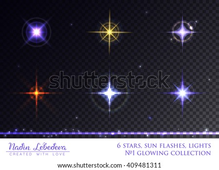 VECTOR eps 10. Glowing collection. Sparkling stars, light effects, glowing realistic flares of camera lens. Transparent sunlight lens flare. Star, Sun flash with rays. Shining star elements