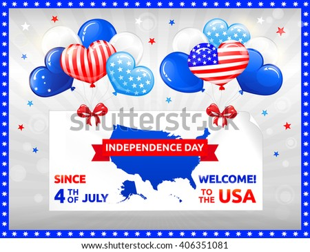 VECTOR eps 10. Happy Independence day in USA with Balloons. Celebration at the 4th July!