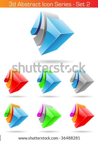 Vector EPS illustration of 3d Abstract Icon Series - Set 2 - stock vector