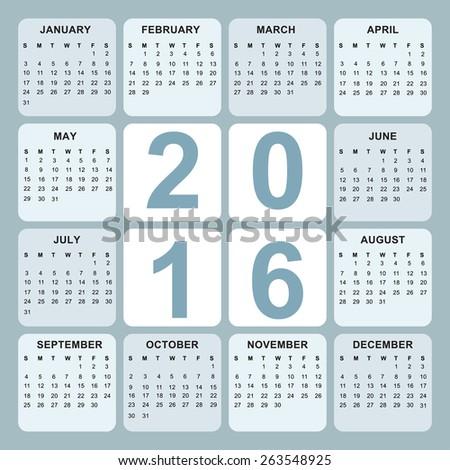 vector eps10 illustration. Planning calendar 2016 year - stock vector
