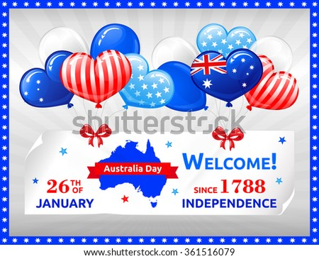 VECTOR eps 10. Independence Day in Australia. Design with balloons, flag,, map and bows.