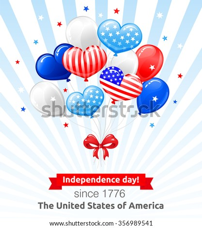 VECTOR eps 10. Independence day of the USA. Balloons, bow and stars, cute American flags in kind of balloons. Enjoy more quality good illustrations in my portfolio! Suitable for valentine's day in USA