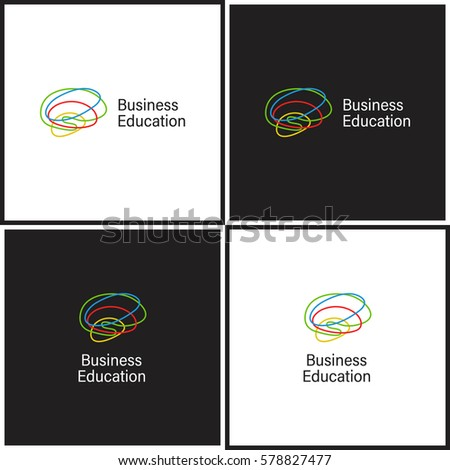 Vector eps logotype or illustration about business education in outline style