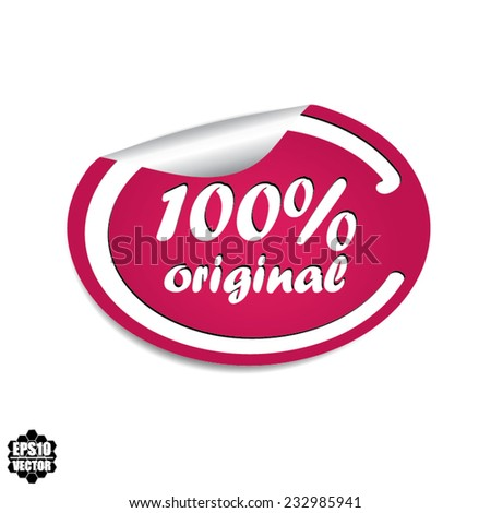 Vector EPS 10: 100% Original Pink Label, Sticker, Icon or Badge on white background. - stock vector