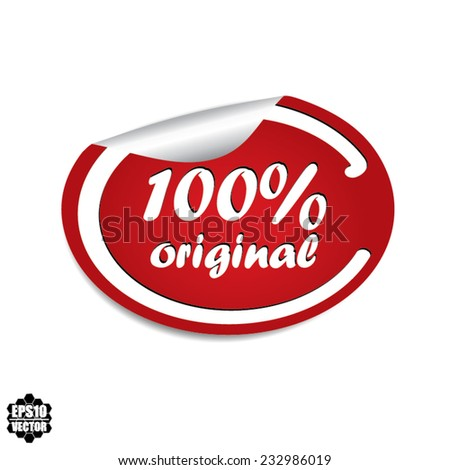 Vector EPS 10: 100% Original Red Label, Sticker, Icon or Badge on white background. - stock vector