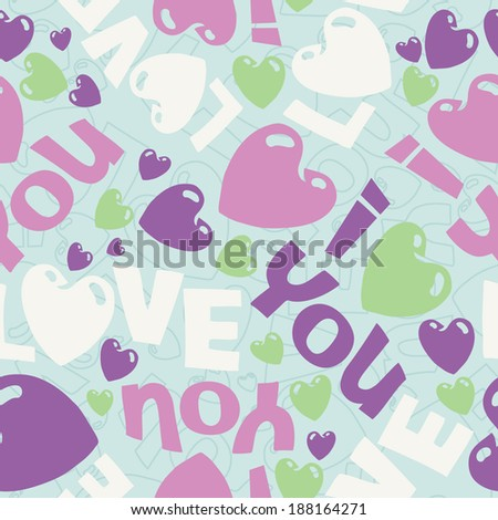 Vector eps seamless sweet pattern illustration with I love you words and hearts - stock vector
