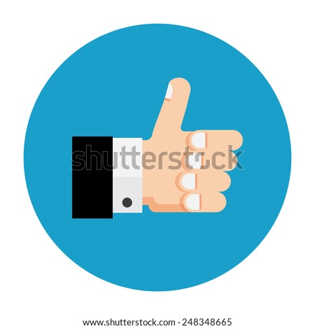 Vector eps10. Thumb up icon, flat design - stock vector