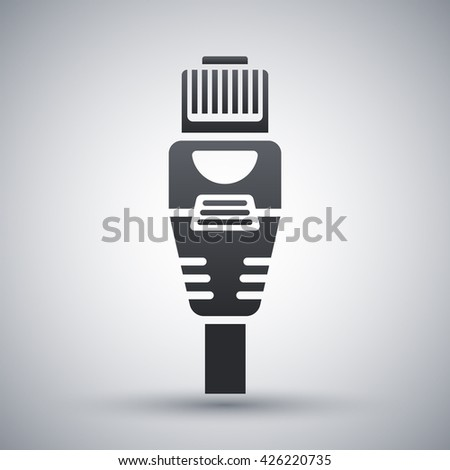 Vector Ethernet Connector with Cable icon. Ethernet Connector with Cable simple icon on a light gray background