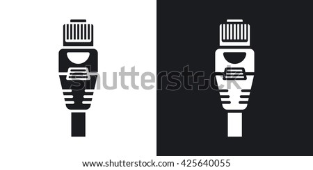 Vector Ethernet Connector with Cable icon. Two-tone version of Ethernet Connector with Cable simple icon on black and white background - stock vector