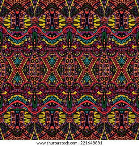 Vector Ethnic Abstract Seamless Festive pattern background ornament - stock vector