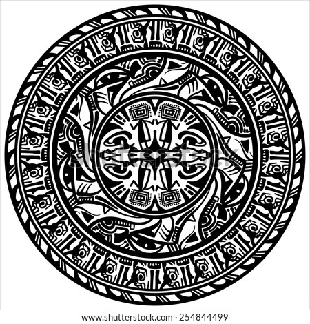 Vector ethnic circle reminiscent of the Aztec ornament. - stock vector