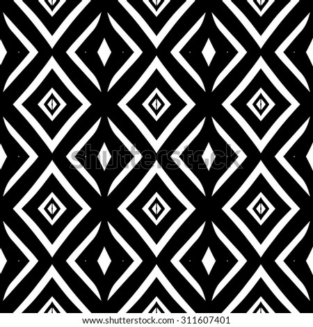 Vector ethnic hand drawn abstract vintage geometric wallpaper pattern seamless background. Tribe motive for wrapping. Aztec, american, arabic rhombus tiling. - stock vector