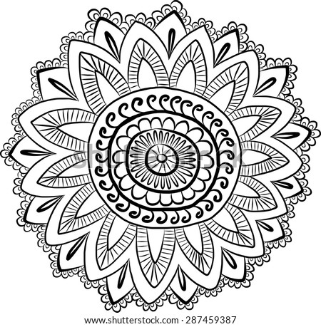 Vector Ethnic Mehndi Pattern Template Mehndi Stock Vector border=