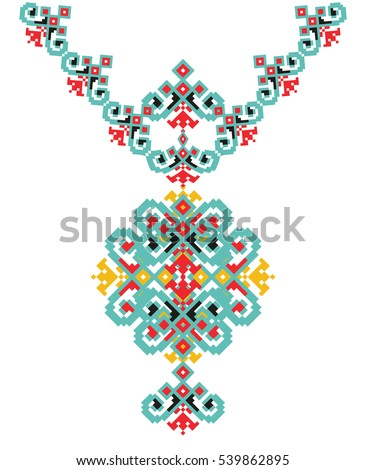 Vector Ethnic necklace Embroidery for fashion women. Pixel tribal pattern print or web design, jewelry, fabric.