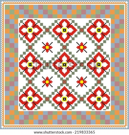 Vector ethnic ornament on the motives of Russian and Ukrainian embroidery on fabric