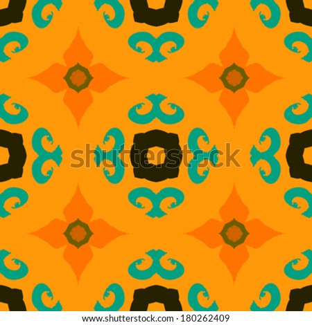 Vector ethnic pattern with Indian, Moroccan and Turkish motifs in turquoise and gold. Texture for web, print, wallpaper, home decor, fall summer fashion, website or oriental restaurant menu background - stock vector
