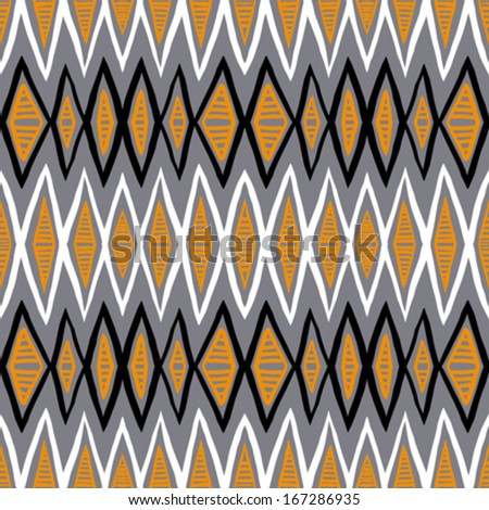 Vector ethnic pattern with zigzag lines in organic colors. Seamless texture for web, print, invitation card background, textile, summer fall fashion, native fabric design, wallpaper, home decor - stock vector