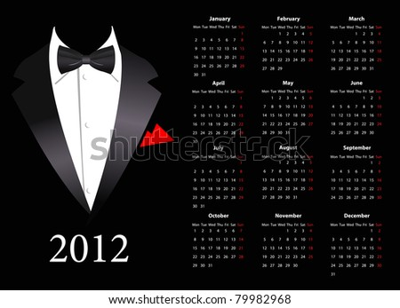 Vector European calendar 2012 with elegant suit, starting from Mondays - stock vector