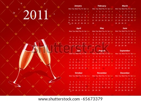 Vector European red calendar 2011 with champagne, starting from Mondays