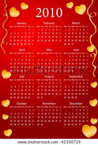 Vector European red calendar with golden hearts, starting from Mondays