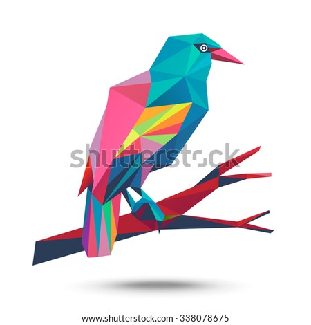 Vector - European Rollers (Coracias garrulus). Illustration of a many triangles. - stock vector