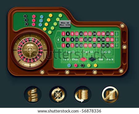 Vector European roulette table layout - stock vector